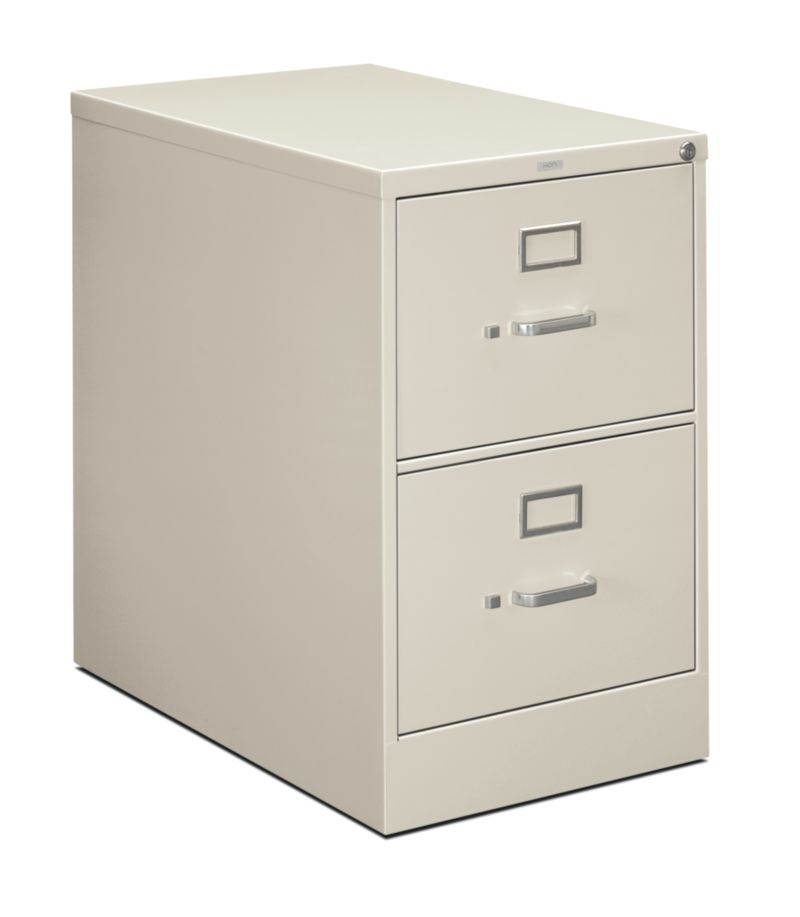 HON 210Series 2-Drawer Vertical File Light Gray Lock Front Side View H212C.P.Q