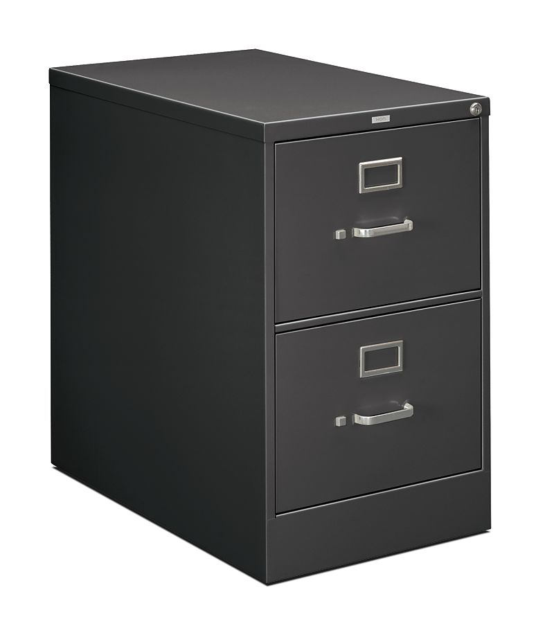 HON 210Series 2-Drawer Vertical File Charcoal Lock Front Side View H212C.P.S