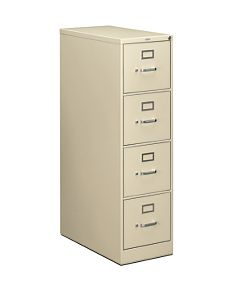 HON 210Series 4-Drawer Vertical File Putty Lock Front Side View H214.P.L