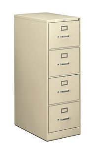 HON 210 Series 4-Drawer Vertical File Putty Front Side View H214C.P.L