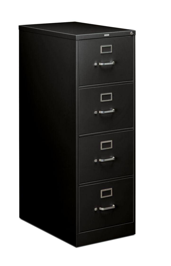 HON 210 Series 4-Drawer Vertical File Black Front Side View H214C.P.P