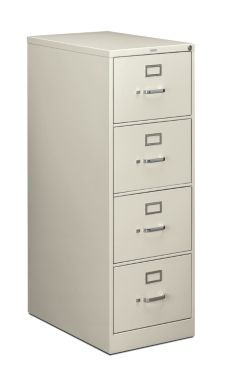 HON 210 Series 4-Drawer Vertical File Light Gray Front Side View H214C.P.Q