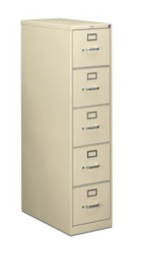 HON 210 Series 5-Drawer Vertical File Putty Front Side View H215.P.L