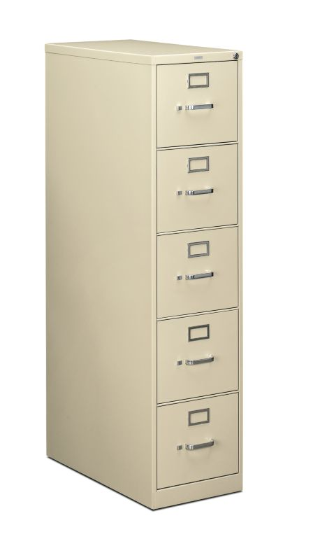 HON 210 Series 5 Drawer Vertical File Putty Front Side View H215.P.L