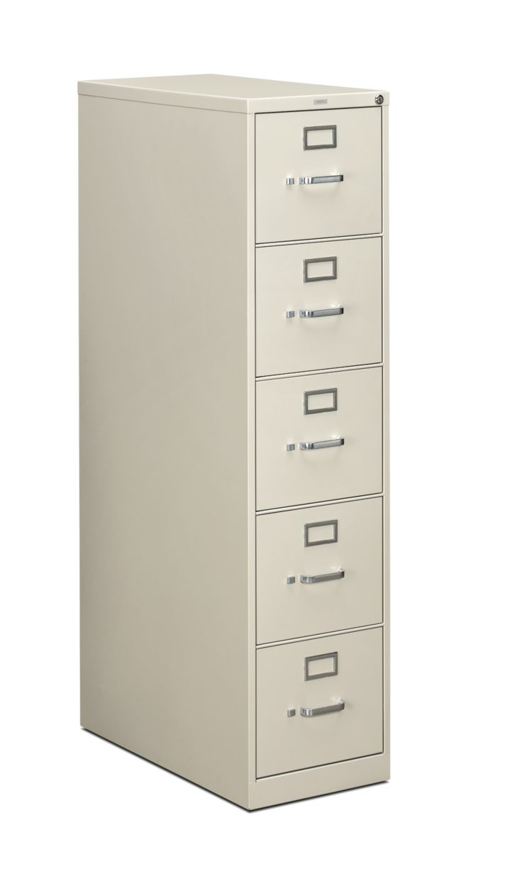 HON 210 Series 5-Drawer Vertical File Light Gray Front Side View H215.P.Q