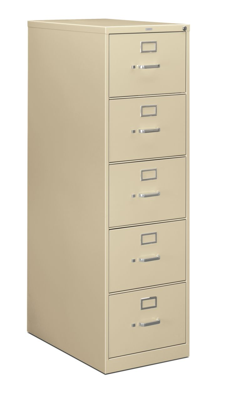 HON 210Series 5-Drawer Vertical File Putty Lock Front Side View H215C.P.L