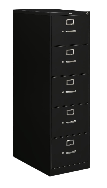 HON 210Series 5-Drawer Vertical File Black Lock Front Side View H215C.P.P
