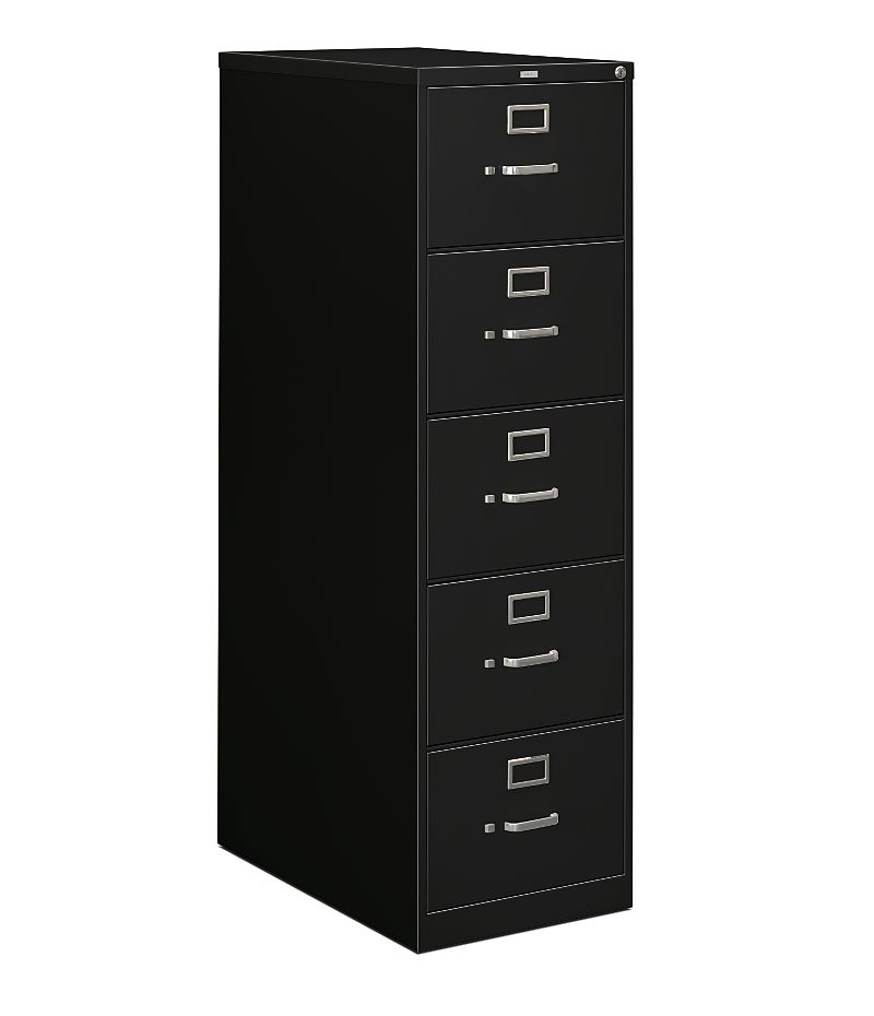 HON 210Series 5-Drawer Vertical File Black Lock Front Side View H215C.P.P