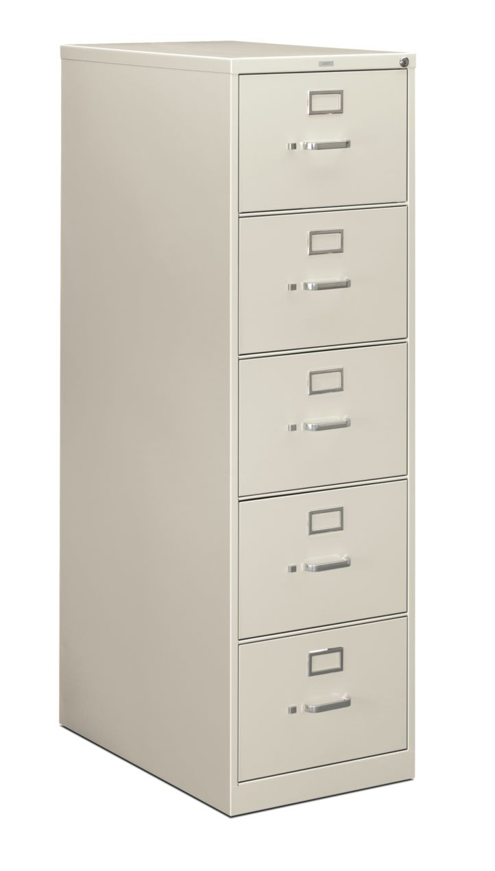HON 210Series 5-Drawer Vertical File Light Gray Lock Front Side View H215C.P.Q