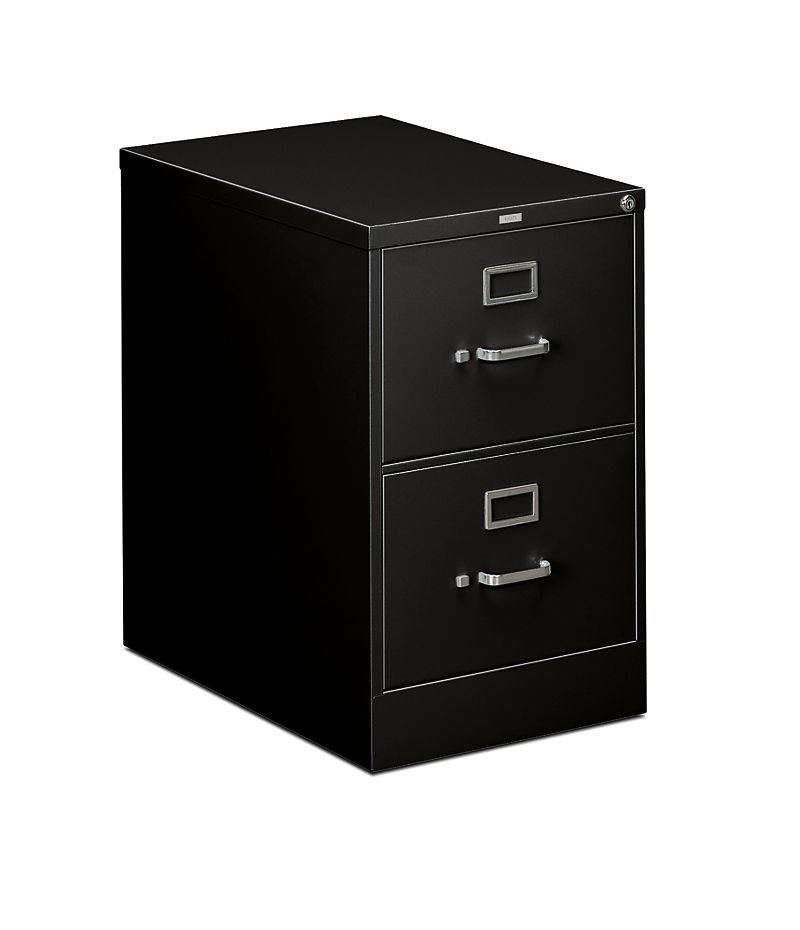 HON 310 Series 2-Drawer Vertical File Black Front Side View H312C.P.P