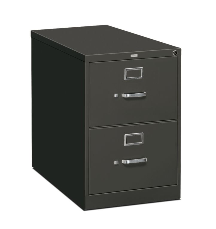 HON 310 Series 2-Drawer Vertical File Charcoal Front Side View H312C.P.S