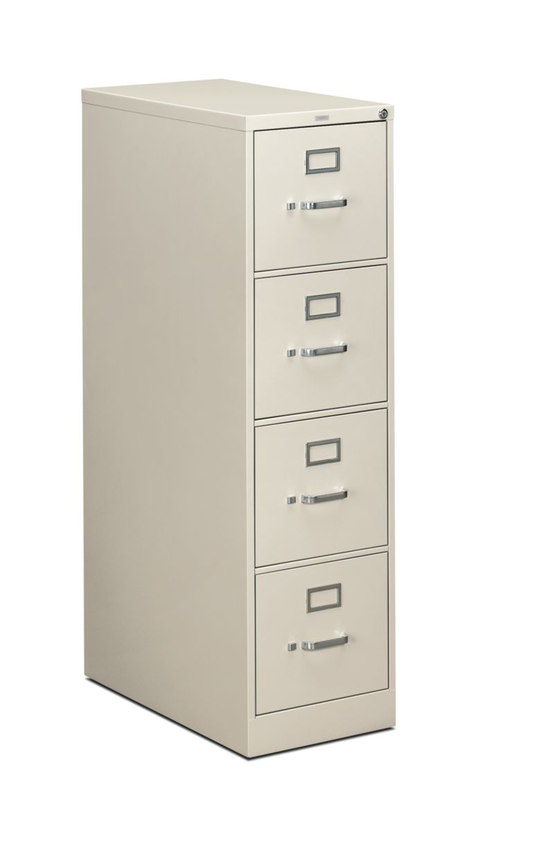 HON 310 Series 4-Drawer Vertical File Light Gray Front Side View H314.P.Q