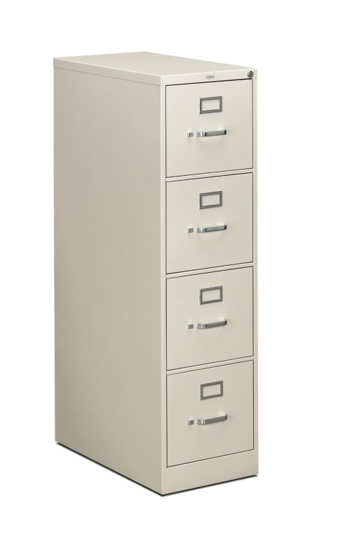HON 310 Series 4 Drawer Vertical File Light Gray Front Side View H314.P.Q