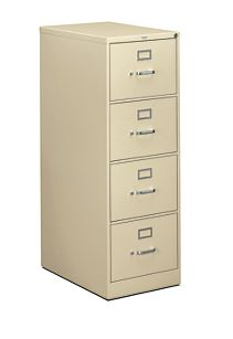 HON 310 Series 4-Drawer Vertical File Putty Front Side View H314C.P.L