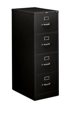 HON 310 Series 4-Drawer Vertical File Black Front Side View H314C.P.P