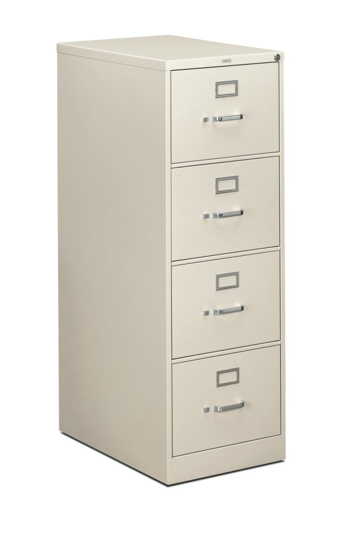 HON 310 Series 4-Drawer Vertical File Light Gray Front Side View H314C.P.Q
