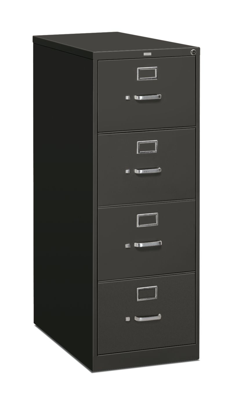 HON 310 Series 4-Drawer Vertical File Charcoal Front Side View H314.P.S