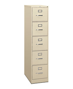 HON 310 Series 5-Drawer Vertical File Putty Front Side View H315.P.L