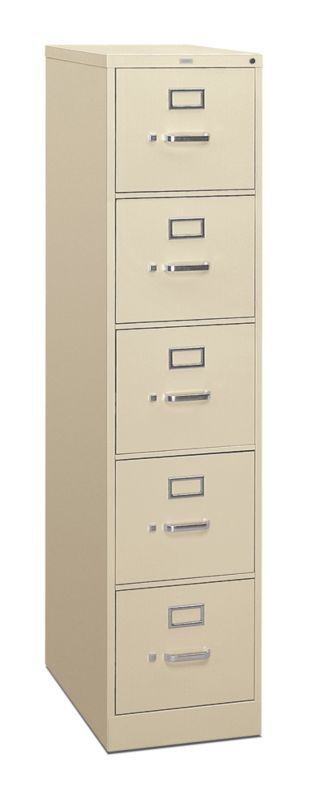 HON 310 Series 5 Drawer Vertical File Putty Front Side View H315.P.L