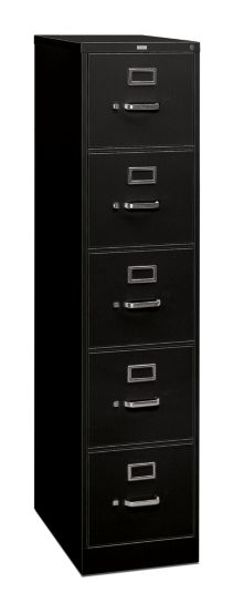 HON 310 Series 5-Drawer Vertical File Black Front Side View H315.P.P