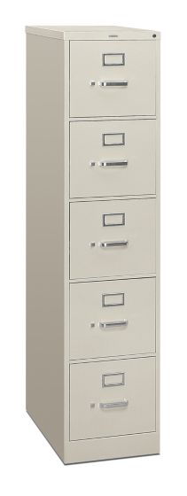 HON 310 Series 5-Drawer Vertical File Light Gray Front Side View H315.P.Q