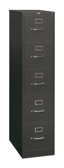 HON 310 Series 5-Drawer Vertical File Charcoal Front Side View H315.P.S