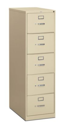 HON 310 Series 5-Drawer Vertical File Putty Front Side View H315C.P.L