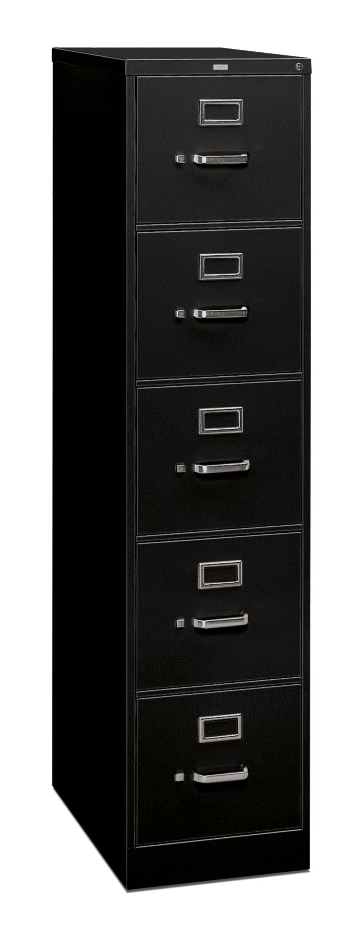 HON 310 Series 5-Drawer Vertical File Black Front Side View H315C.P.C