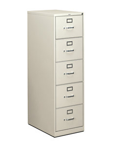 HON 310 Series 5-Drawer Vertical File Light Gray Front Side View H315C.P.Q