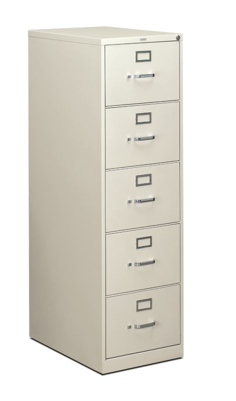 HON 310 Series 5 Drawer Vertical File Light Gray Front Side View H315C.P.Q