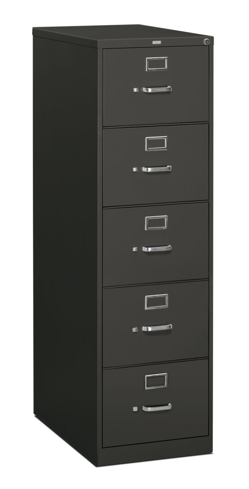 HON 310 Series 5-Drawer Vertical File Charcoal Front Side View H315C.P.S