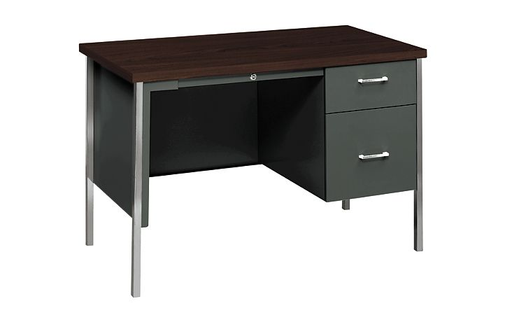 HON 34000Series Small Office Charcoal Mahogany Top Front Side View H34002R.N.S