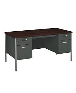 HON 34000Series Double Pedestal Desk Charcoal Mahogany Top Front Side View H34962.N.S