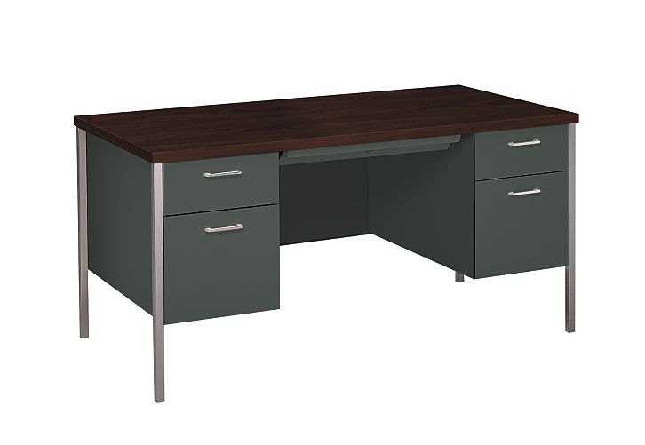 Hon 34000series Double Pedestal Desk Charcoal Gany Top Front Side View H34962 N S