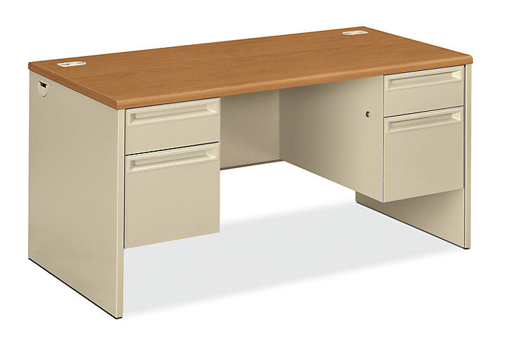 HON 38000 Series Double Pedestal Desk White Light Brown Top Front Side View H38155.C.L