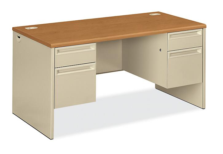 HON 38000 Series Double Pedestal Desk White Light Brown Top Front Side View H38155.C.L