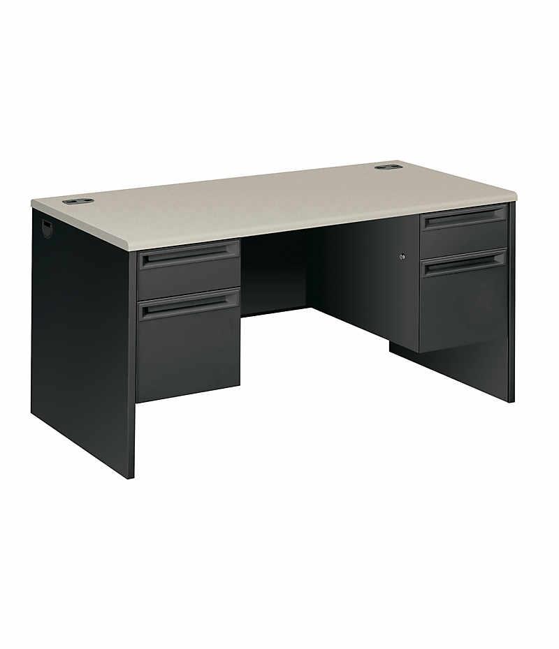 HON 38000 Series Double Pedestal Desk Black White Top Front Side View H38155.G2.S