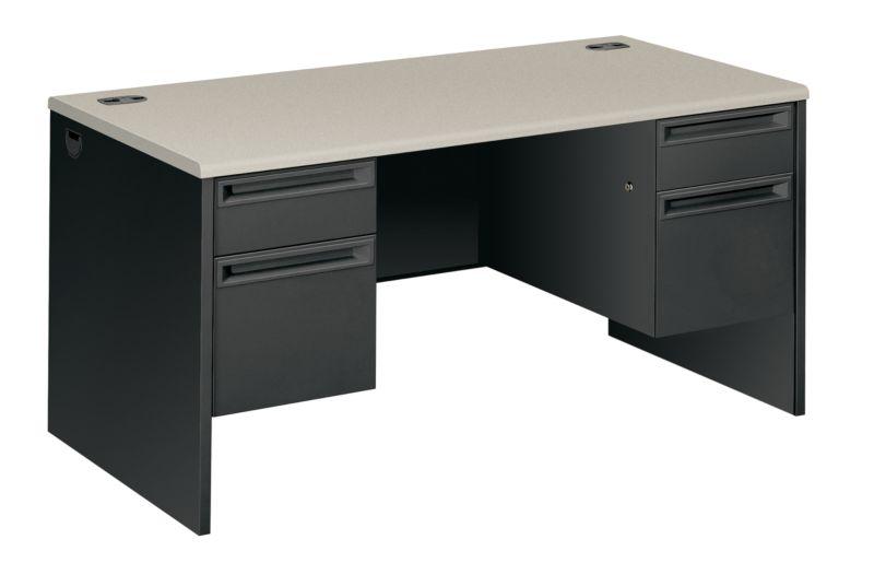 Charmant HON 38000 Series Double Pedestal Desk Black White Top Front Side View  H38155.G2.