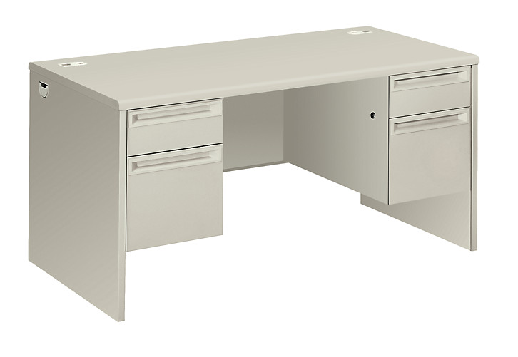 HON 38000 Series Double Pedestal Desk White Front Side View H38155.Q.Q