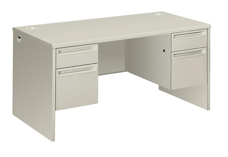HON 38000 Series Double Pedestal Desk White Front Side View H38155.Q.Q