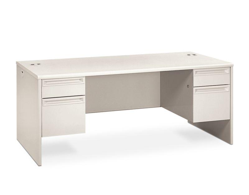 HON 38000 Series Double Pedestal Desk White 2 Locks Front Side View H38180.Q.Q