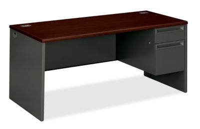 HON 38000Series Right Pedestal Desk Mahogany Top Charcoal Front Side View H38291R.N.S
