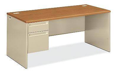 HON 38000Series Left Pedestal Desk Harvest Top Putty Front Side View H38292L.C.L