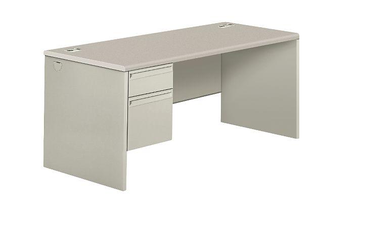 HON 38000Series Left Pedestal Desk Light Gray Front Side View H38292L.G2.Q