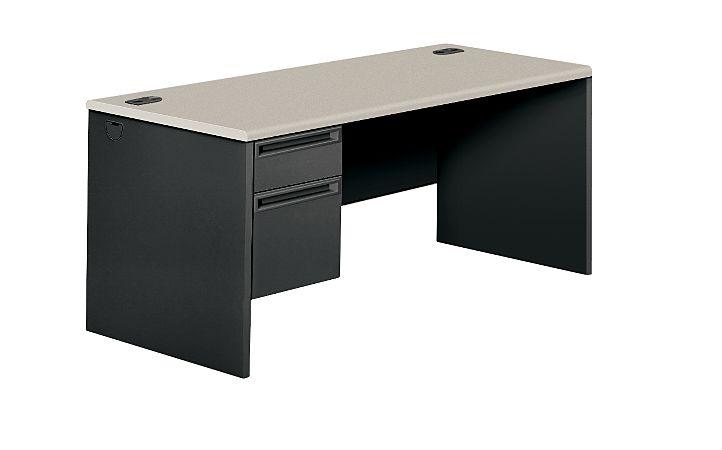 HON 38000Series Left Pedestal Desk Charcoal Light Gray Top Front Side View H38292L.G2.S