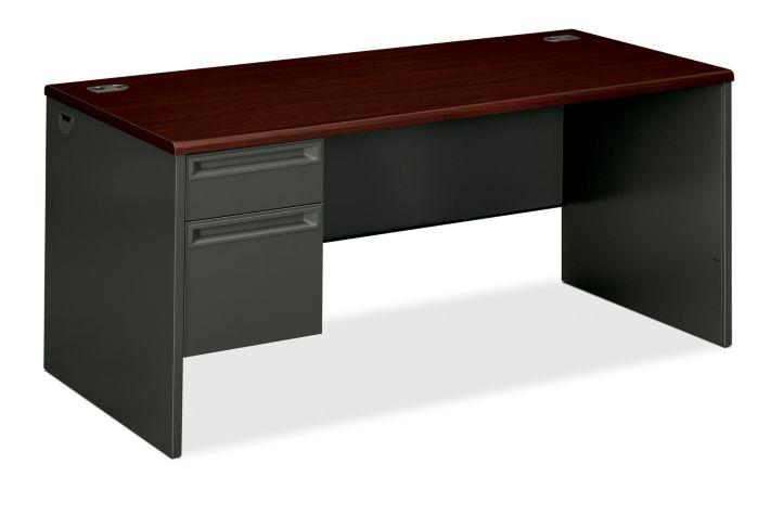 HON 38000Series Left Pedestal Desk Charcoal Mahogany Top Front Side View H38292L.N.S