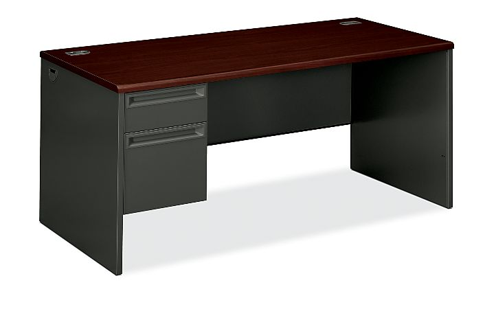 HON 38000Series Left Pedestal Desk Charcoal Mahogany Top Front Side View H38292L.N.S
