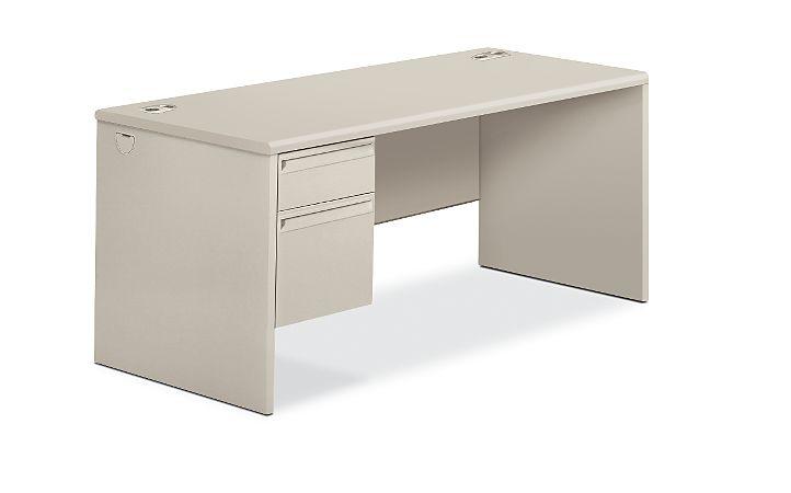 HON 38000Series Left Pedestal Desk Light Gray Front Side View H38292L.Q.Q