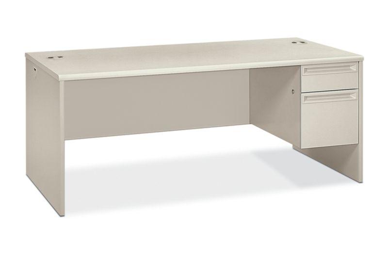 HON 38000Series Right Pedestal Desk Light Gray Front Side View H38293R.Q.Q