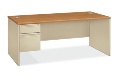 HON 38000Series Left Pedestal Desk Harvest Putty Front Side View H38294L.C.L
